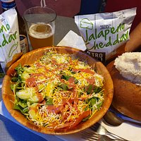 Bread bowl soup and side salad