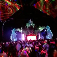 The main dance zone at Aum NYE Festival 2017. They have amazing sound and lighting production on their stages and a variety of music on each stage ranging from psytrance to house music depending on the time of day.