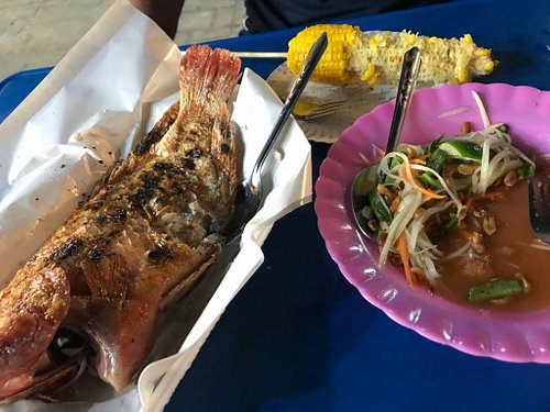 Fresh fish, sweetcorn and noodles