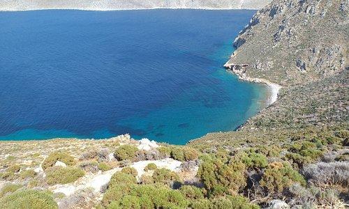 A mountain trail high above the Tilos coastline