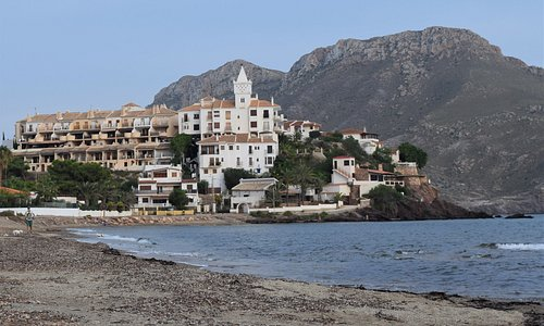 The classic view of Calabardina from Playa de la Cola as you approach from Aguilas