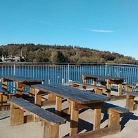 Lots of outdoor seating on our waterside patio's