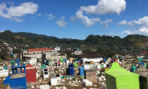 The weirdest cemetery I ever seen. Most tombs don't have names and there are small concrete blocks on top of them to burn copal - the resin of pine trees.