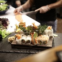 Sushi in progress.