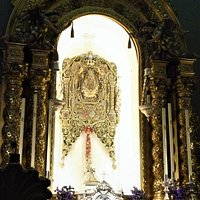 "The actual ""Simpecado"" on the altar of the ""Hermandad de Nuestra Señora del Rocío de Triana"" in Seville."