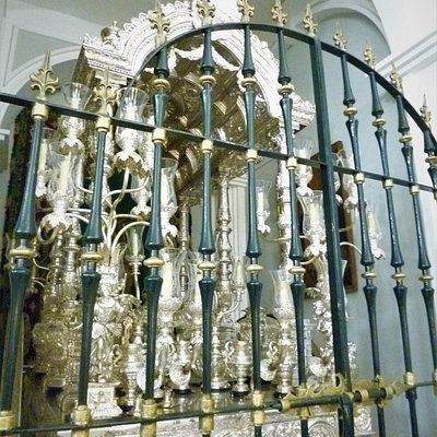 """Inside the Chapel of the """"Hermandad de Nuestra Señora del Rocío de Triana"""" in Seville."""