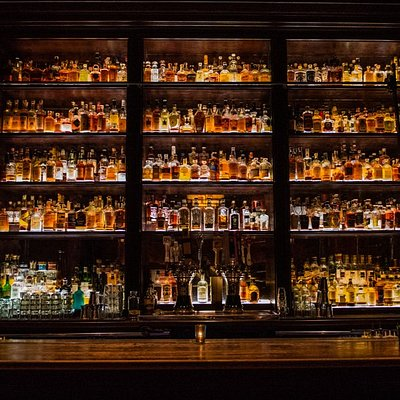 Untitled's whiskey library offers 500+ varieties of whiskey.