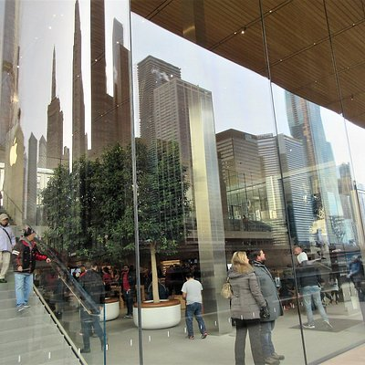 Pioneer Court: Apple Store Reflecting Chicago Skyscrapers