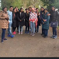 Visitors from India enjoying the sights at the dark hedges