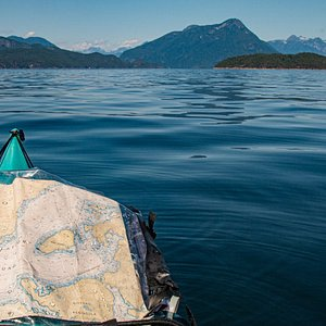 Sitting in a kayak and looking out over Desolation Sound.