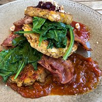 Vegan Corn Fritters (option can add bacon for non - vegans)