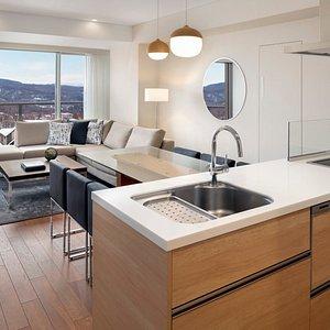 2Bedroom Suite Living Room & Open Kitchen