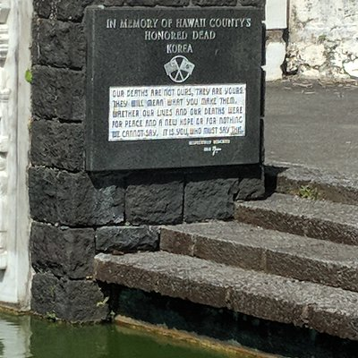 Plaque for those who died in the Korean conflict at the Hilo WWII Memorial.