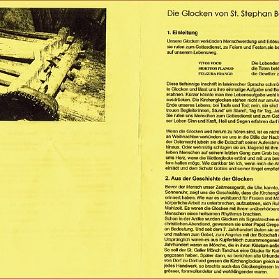 Little guide for the bells of church St. Stephan in Beromünster, Canton of Lucerne, Switzerland (pages 4+1)
