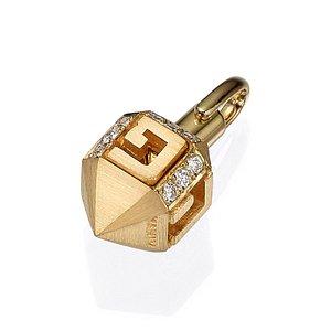 18k Yellow Gold Diamond Dreidel Pendant-Yaniv Fine Jewelry Tel-Aviv