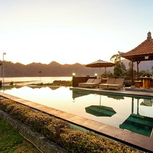 Our Pool with Sunrise, Lake Batur,Mount Abang and Mount Agung View