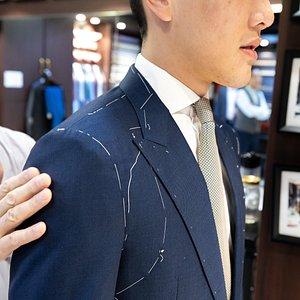 Sharkskin blue suit fitting