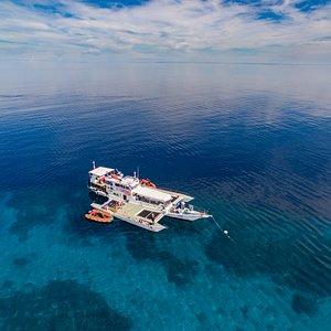 M/Y Sakura moored outside Tubbataha Reefs