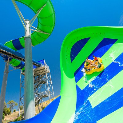 Funfields Theme Park World Record Gravity Wave Water Slide. It is the longest and highest of its kind in the world.