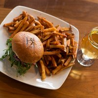 Classic comfort food! Burger, Fries and a lager please.