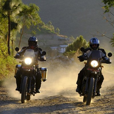 Great riding with Enfield Himalayans on a gravel road near Trashigang, Bhutan, Photo: Jo Deleker