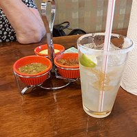The excellent $5.00 margarita and the three types of complimentary salsas