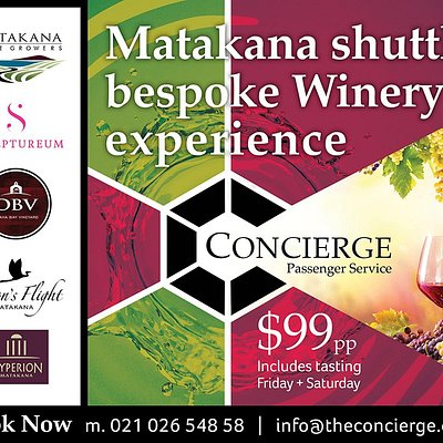 Winery Experience - Visit 4 local wineries, experience the varieties of boutique vineyards of this region, enjoy 4 tasting experience and transport. Friday and Saturday start times 10,10.30,11,11.30 $99 pp inclusive.