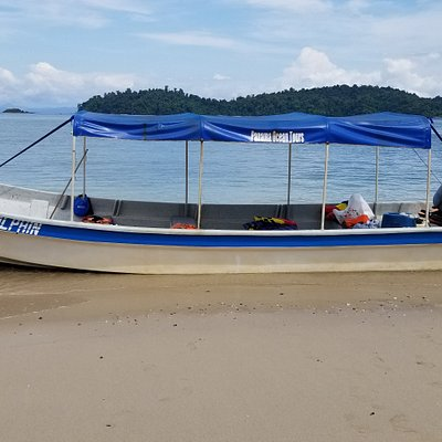 Blue Dolphin. One of our 26 foot boats that transport tourist to Coiba  Island.