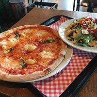 Pizza and Panzanella salad at Goomba