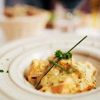 Tortelloni alla Zucca: rellenos de calabaza con crema de calabaza y aromas de trufa.