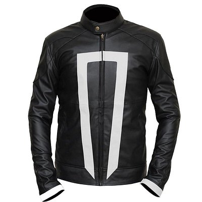 Ghost Rider Jacket Pure Ghost Rider Jacket Plain Black Shiny Side Diagonal two Pockets Strip Collar Cafe Racer Cuffs Straight Zip Closure | https://www.jacketworld.co.nz/ghost-rider-agents-of-shield-jacket/