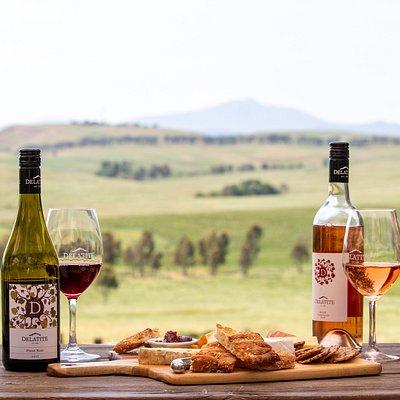 Vintners Platter, Tempranillo Rosé and Pinot noir overlooking Mount Buller