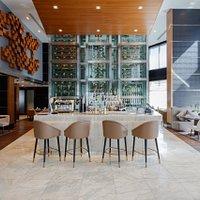 Entrance, bar area, wine tower