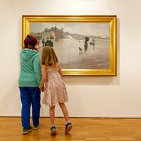 A selection of Newlyn School paintings on view upstairs in Gallery 5.