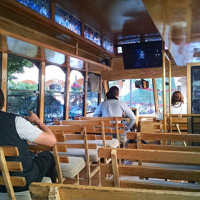 Photo from inside the tour trolley.
