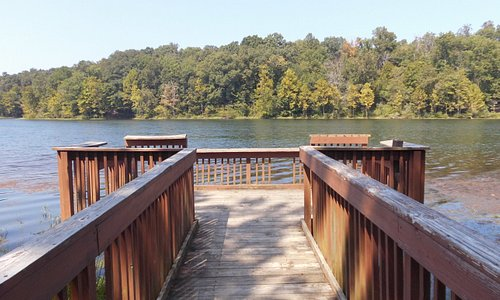 An accessible fishing pier is available at the Indian-Celina Lakes Recreation Area.