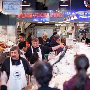 Pure Food Fish Market located in Seattle's famous Pike Place Market.
