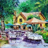 Although this is a picture. This is exactly how our patio looks and feels like in the spring. Beautiful and Magical!