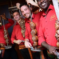 Our Brazilioan passadores beginning table side meat service