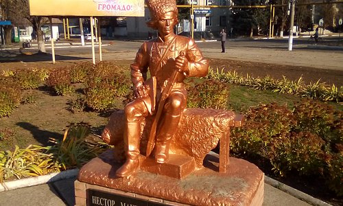 Statue in the main square of Nestor Makhno