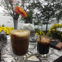 Egg coffee and black Vietnamese coffee