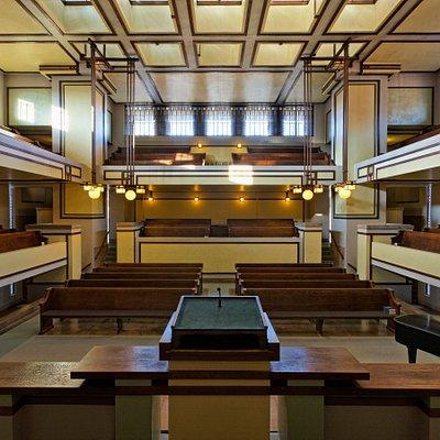 Sanctuary, Unity Temple (Frank Lloyd Wright, 1905-08), Oak Park, Ill  Credit: Courtesy of Frank Lloyd Wright Trust. Photographer: James Caulfield