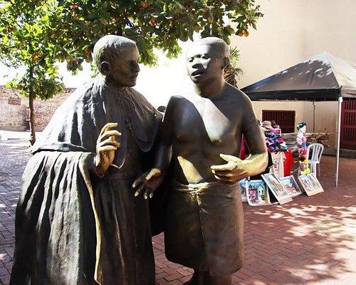 Saint San Pedro bronze statue in plaza