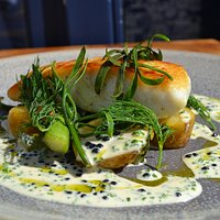 Halibut, caviar veloute, asparagus, sea vegetables.