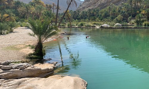 Wadi Bani Khalid One of the best touristic places in Oman, it is around 250 km away from Muscat. There there are many lakes and tourist could have swimming in this Friday warm water