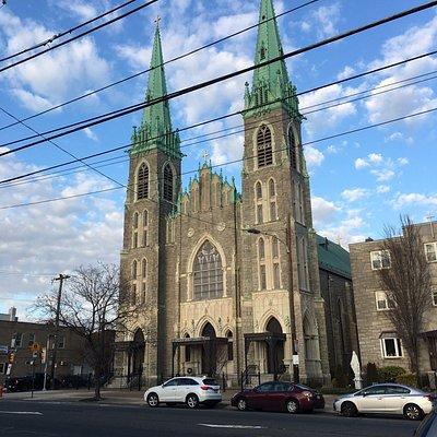 St Adalbert Roman Catholic Church in Gothic revival style.