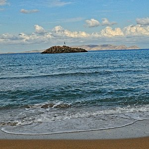 Looking at Dia Island from ancient Amnissos Beach just east of Heraklion, Crete