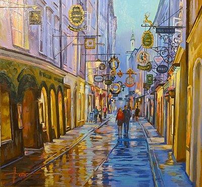 "Artist Marina Huber ""Salzburg. Street"" oil painting"