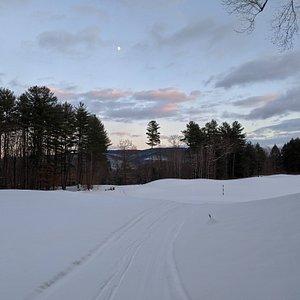 Brattleboro Outing Club XC ski trail at dusk
