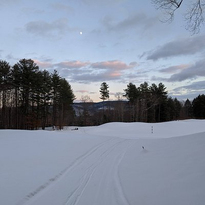 Brattleboro Outing Club XC ski trail at dusk